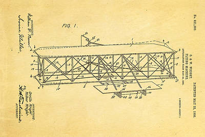 Wright Brothers Flying Machine Patent Art 1906 Print by Ian Monk