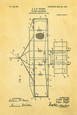 Wright Brothers Flying Machine Patent Art 2 1906 Print by Ian Monk