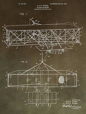 Important Mixed Media - Wright Brothers Original Patent by Dan Sproul