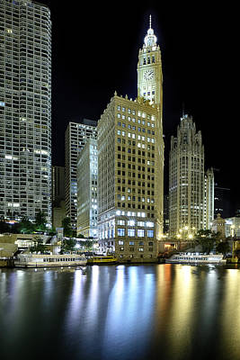Wrigley Building At Night  Print by Sebastian Musial