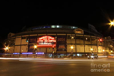 Wrigley Field At Night Print by Michael Paskvan