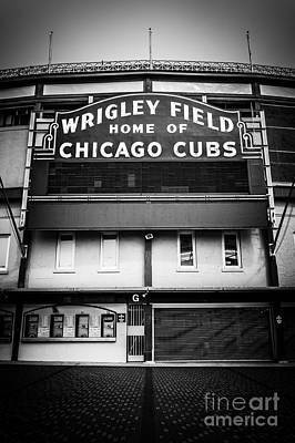 Wrigley Field Chicago Cubs Sign In Black And White Print by Paul Velgos