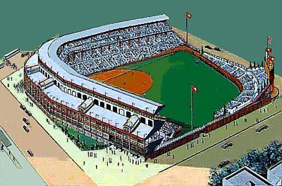 Wrigley Field Painting - Wrigley Field In Chicago Il In 1950 by Dwight Goss