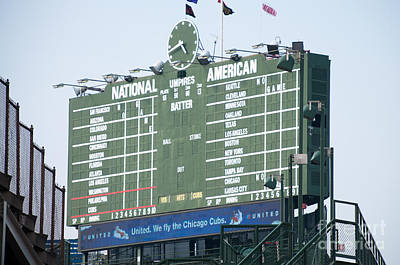 Chicago Cubs Stadium Print featuring the photograph Wrigley Field Scoreboard Sign by Paul Velgos