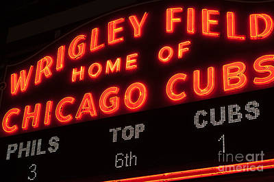 Wrigley Field Sign At Night Print by Paul Velgos