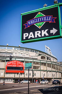 Wrigleyville Sign And Wrigley Field Print by Paul Velgos