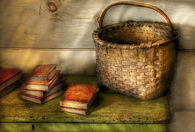 Writer - A Basket And Some Books Print by Mike Savad
