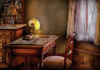 Ledger Lamp Photograph - Writer - Desk Of An Inventor by Mike Savad