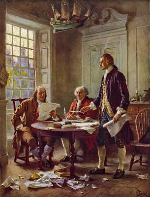Writing The Declaration Of Independence 1776 Print by DC Photographer