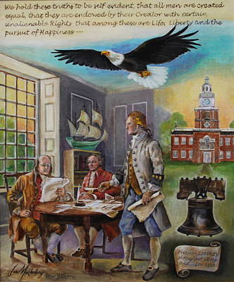 Independence Hall Painting - Writing The Declaration Of Independence by Jan Mecklenburg