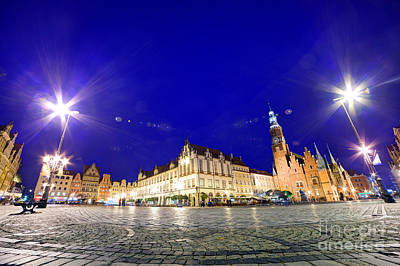 Light Photograph - Wroclaw Poland Historical Market Square And The Town Hall by Michal Bednarek
