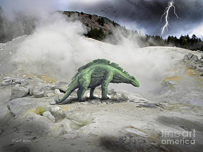 Dinosaur Mixed Media - Wuerhosaurus Near Volcanic Vent by Frank Wilson