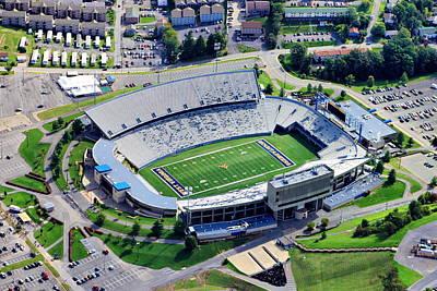 Wvu Mountaineer Stadium Aerial Print by Mattucci Photography