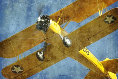 Bi Plane Digital Art - Stearman Trainer Bi Plane by Thomas Woolworth