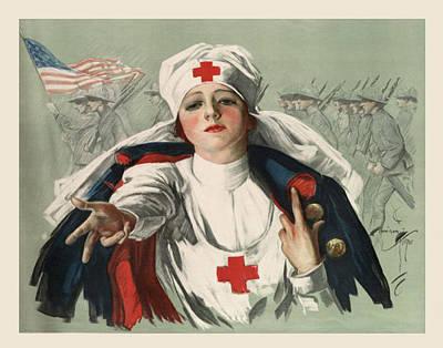 Red Cross Digital Art - Ww2 Red Cross by Georgia Fowler