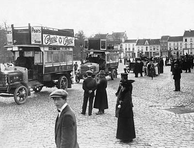 Bus Photograph - Wwi Evacuation Of Antwerp by Underwood Archives