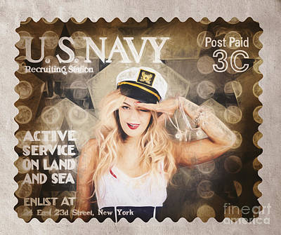 4th July Photograph - Wwi Recruiting Postage Stamp. Navy Sailor Girl by Jorgo Photography - Wall Art Gallery