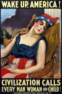 Wwi Wake Up America 1917 Print by Photo Researchers