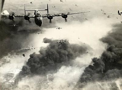 Aviator Photograph - Wwii B-24 Liberators Over Ploesti by Historic Image