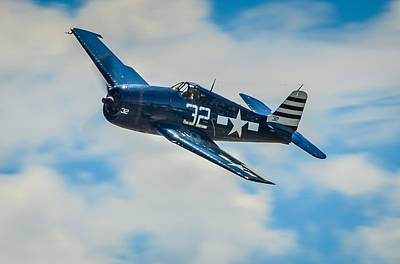 F6f Photograph - Wwii United States Carrier Group Fighter Grumman F6f by Puget  Exposure