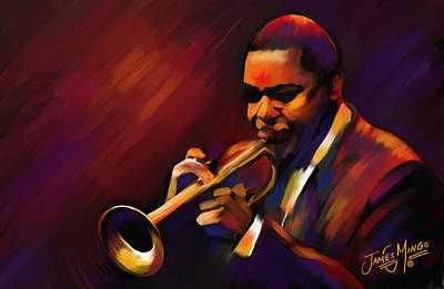 Trumpet Painting - Wynton by James  Mingo