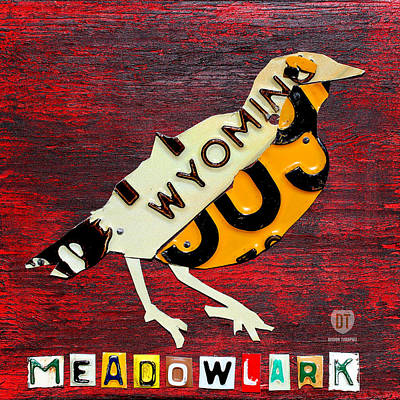 Meadowlark Mixed Media - Wyoming Meadowlark Wild Bird Vintage Recycled License Plate Art by Design Turnpike