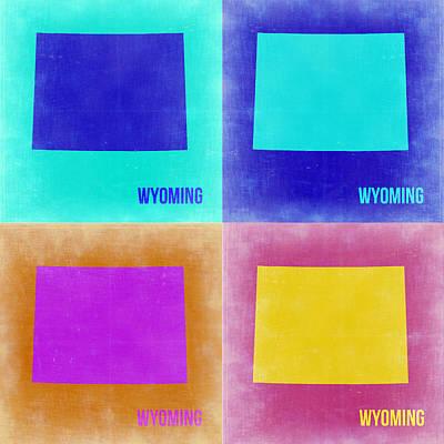 Wyoming Painting - Wyoming Pop Art Map 2 by Naxart Studio