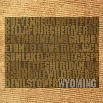 Yellowstone Mixed Media - Wyoming Word Art State Map On Canvas by Design Turnpike