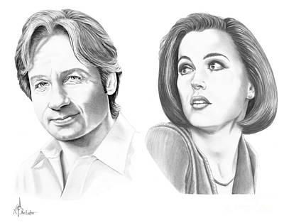 Celebrity Drawing - X-files  by Murphy Elliott