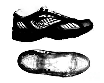 X-ray Of Athletic Shoe Print by Bert Myers