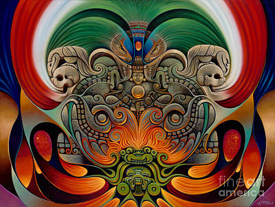 Aztec Painting - Xiuhcoatl The Fire Serpent by Ricardo Chavez-Mendez