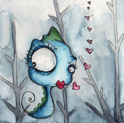 Seahorse Drawing - Xoxo by Darnel Tasker