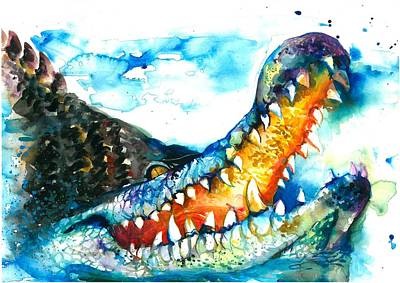 Xxl Format Crocodile Watercolor Print by Tiberiu Soos
