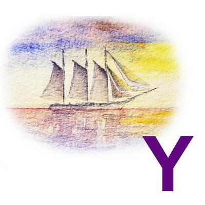 Yacht Painting - Y Art Alphabet For Kids Room by Irina Sztukowski