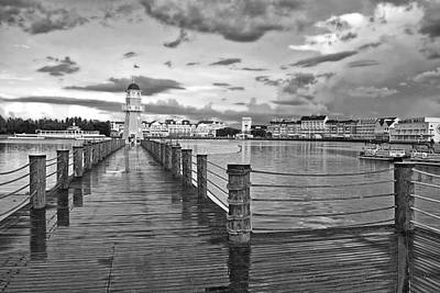 Yacht And Beach Lighthouse In Black And White Walt Disney World Print by Thomas Woolworth