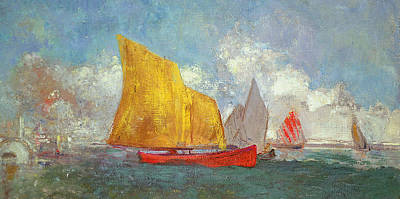 Yachts In A Bay Print by Odilon Redon