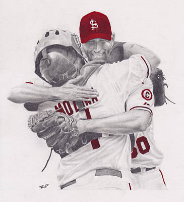 Cardinal Drawing - Yadi And Waino by Robert Douglas