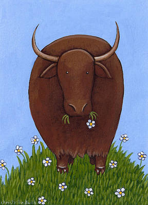 Whimsical Yak Painting Print by Christy Beckwith