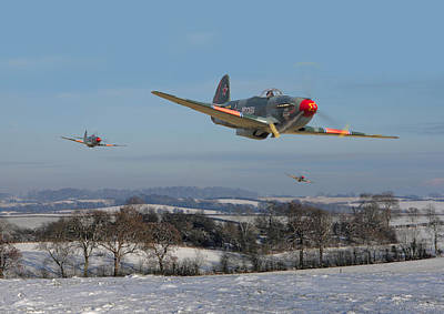 Fighters Digital Art - Yak9 - The Russians Are Coming by Pat Speirs