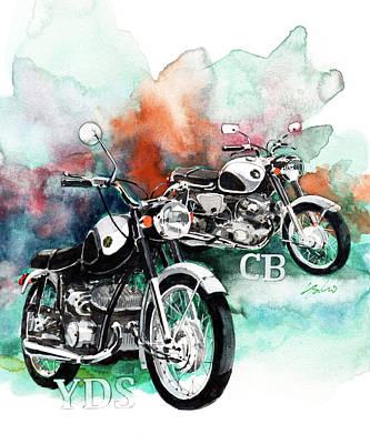 Honda Painting - Yamaha Yds And Honda Cb72 by Yoshiharu Miyakawa
