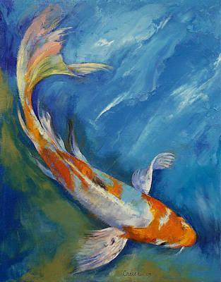 Koi Fish Painting - Yamato Nishiki Koi by Michael Creese