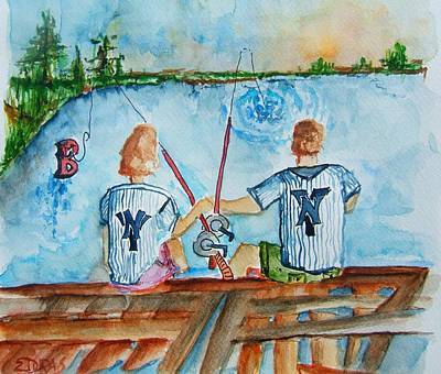 Pinstripes Painting - Yankee Fans Day Off by Elaine Duras