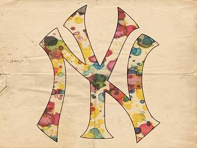Derek Jeter Digital Art - Yankees Vintage Art by Florian Rodarte