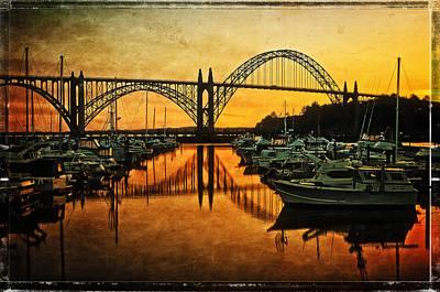 Yaquina Bay Bridge At Sunset Print by Thom Zehrfeld