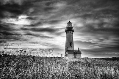 Yaquina Head Lighthouse Black And White Print by Mark Kiver