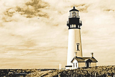 Print featuring the photograph Yaquina Lighthouse Oregon by A Gurmankin