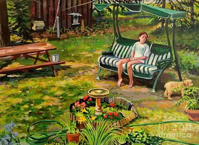 Cocker Spaniel Painting - Yard Swing by William Bukowski