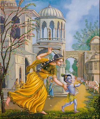 Yashoda Chasing Baby Krishna Print by Dominique Amendola