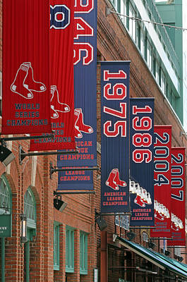 Boston Red Sox Photograph - Yawkey Way Red Sox Championship Banners by Juergen Roth