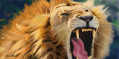 African Digital Art - Yawning Lion by Aaron Blaise